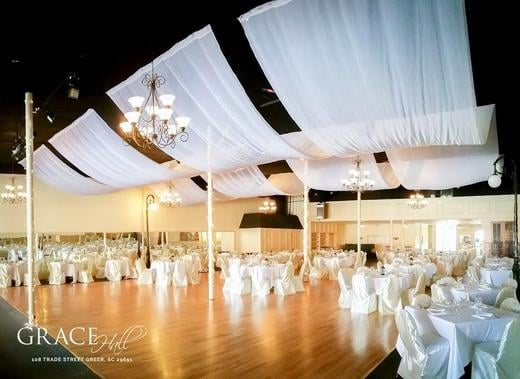 We have 2 ceiling drape systems available.